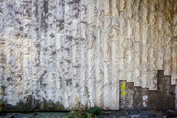 Stock photo: White stone tile wall