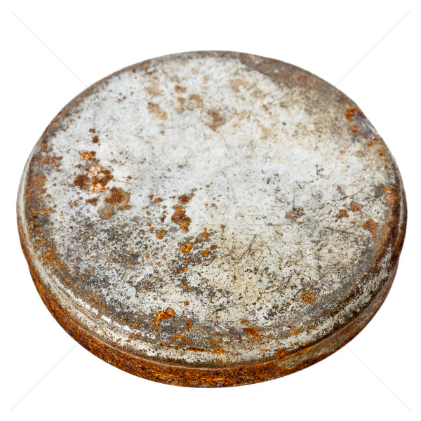Rozsdás fém tányér izolált fehér terv Stock fotó © Taigi