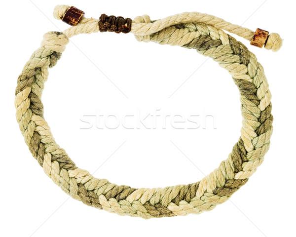 Corde bracelet isolé blanche main heureux Photo stock © Taigi