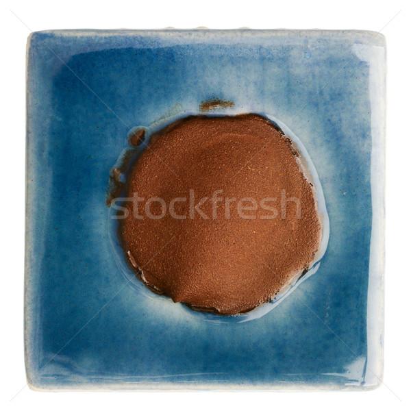Feito à mão cerâmico telha azul marrom ponto Foto stock © Taigi