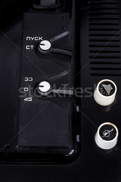 Control panel of vintage suitcase turntable Stock photo © Taigi