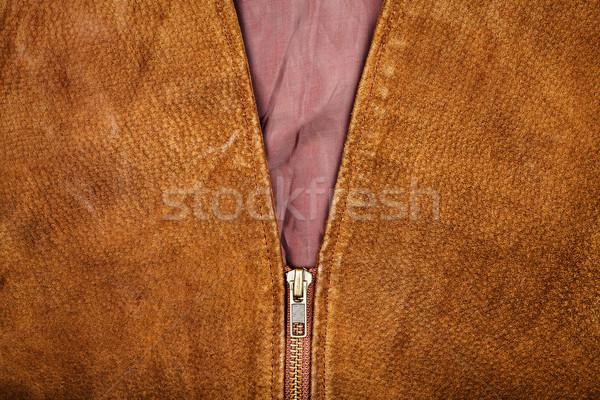 Fragment vest bruin mode achtergrond weefsel Stockfoto © Taigi