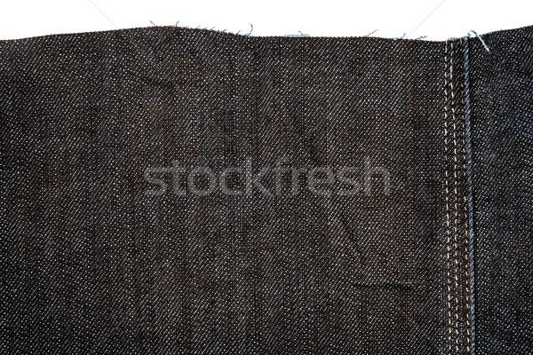 Pezzo buio jeans tessuto isolato bianco Foto d'archivio © Taigi