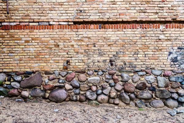 желтый кирпичная стена каменные подвал дома текстуры Сток-фото © Taigi