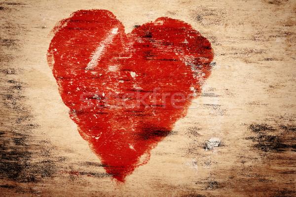Heart on wood Stock photo © Taigi