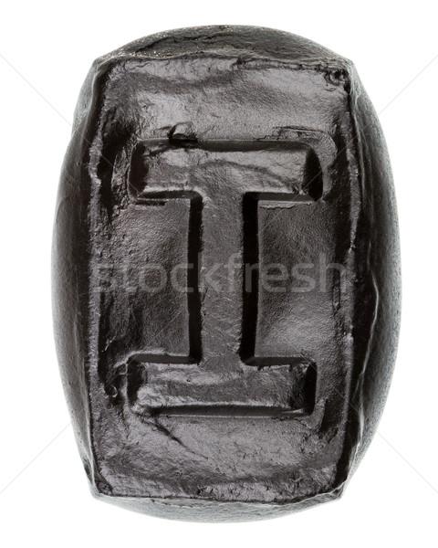 Keramik Buchstaben i gemalt schwarz isoliert Stock foto © Taigi