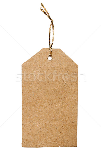Brown cardboard price tag with golden rope Stock photo © Taigi