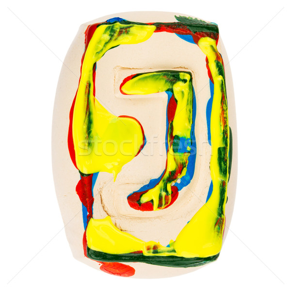 Colorful handmade of white clay letter J Stock photo © Taigi