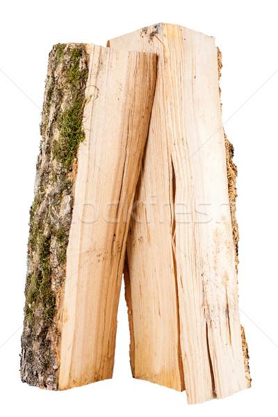 Bois de chauffage isolé blanche texture fond vert Photo stock © Taigi