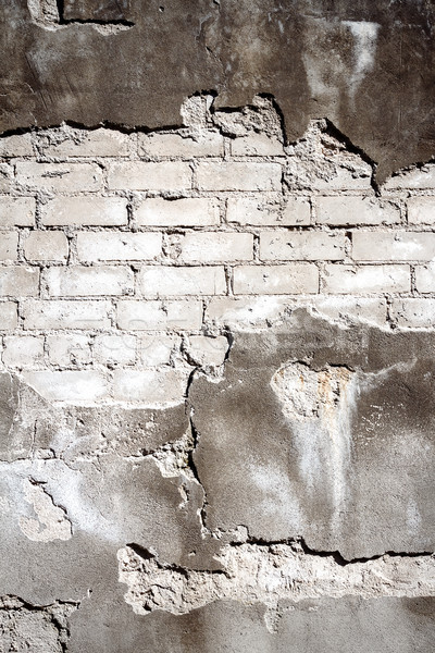 Old gray brick and plaster wall texture background Stock photo © Taigi