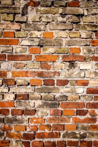 Foto stock: Amarelo · vermelho · parede · de · tijolos · textura · casa · edifício
