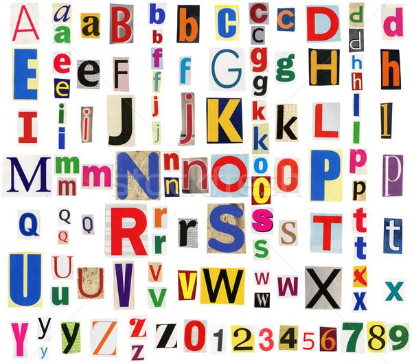 Colorful newspaper alphabet Stock photo © Taigi