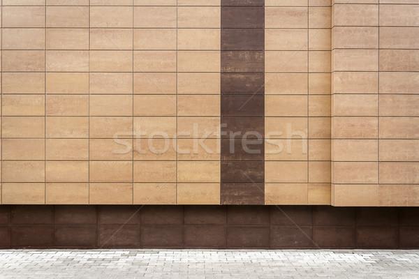 Moderne bruin metaal tegels muur Stockfoto © Taigi