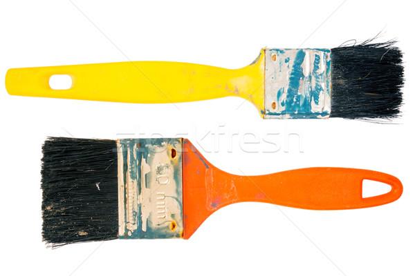 Foto stock: Dois · velho · usado · pintar · isolado · branco