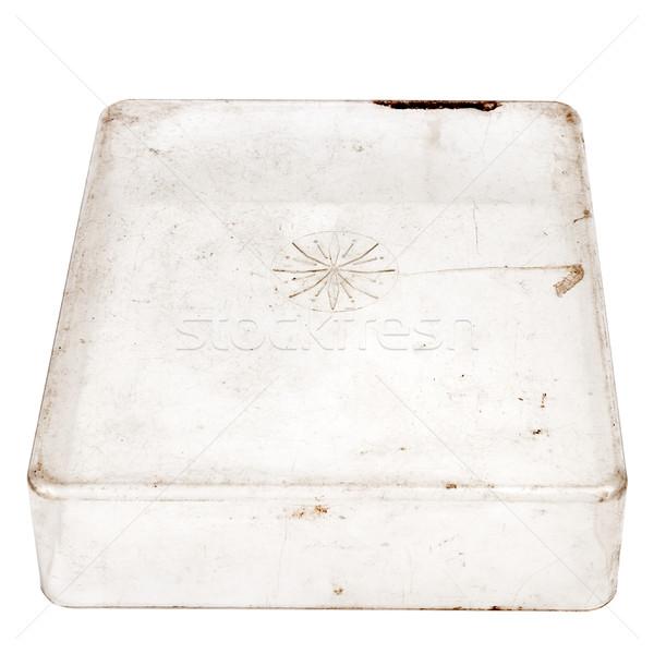 öreg műanyag doboz koszos izolált fehér Stock fotó © Taigi
