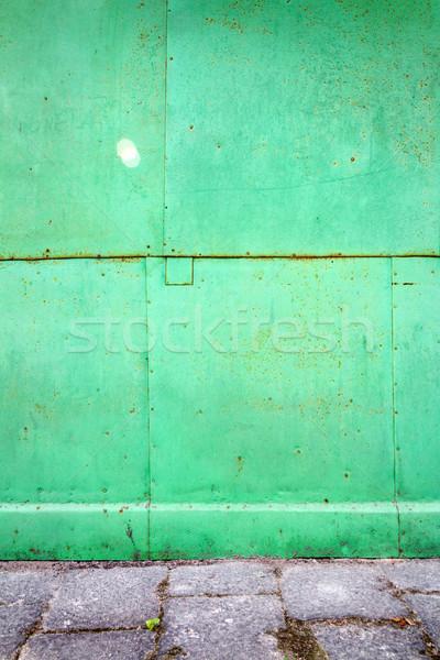 Zöld konzervdoboz fal öreg viharvert fém Stock fotó © Taigi
