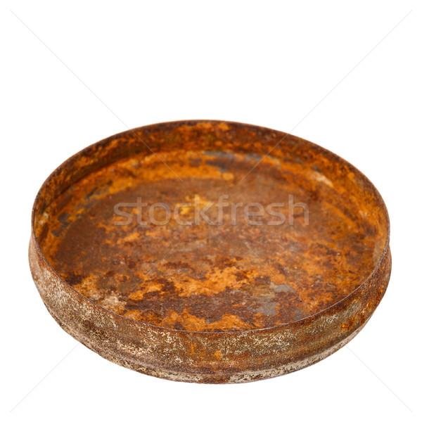 Enferrujado metal prato isolado branco abstrato Foto stock © Taigi