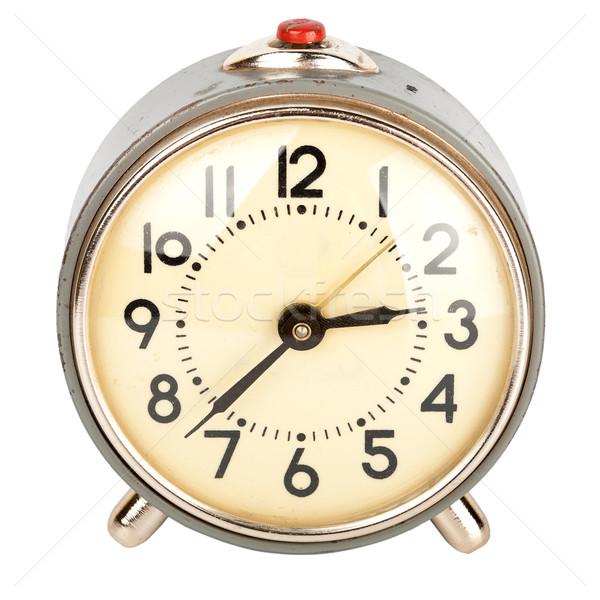 Alten Wecker isoliert weiß Uhr Retro Stock foto © Taigi
