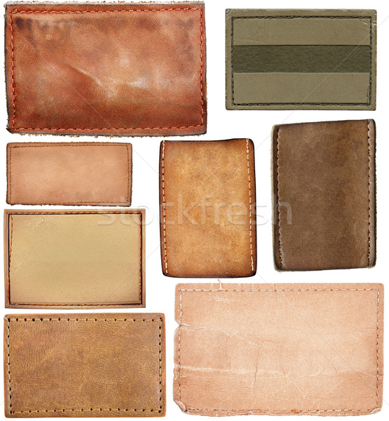 Stock photo: Big size set of blank leather jeans labels