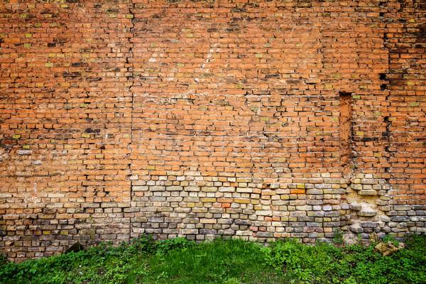 Kırmızı sarı tuğla duvar yeşil ot çim Bina Stok fotoğraf © Taigi