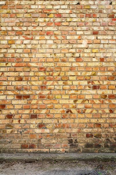 Amarillo pared de ladrillo concretas sótano edificio diseno Foto stock © Taigi