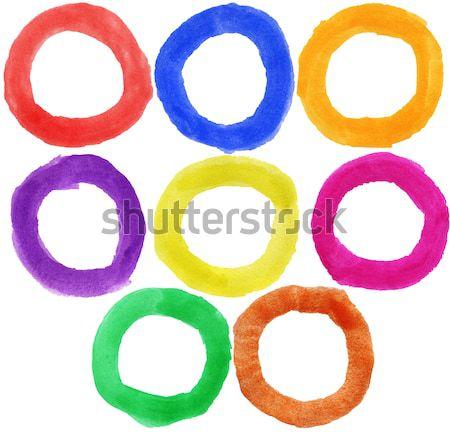 Stock fotó: Vízfesték · kéz · festett · körök · nagy · méret