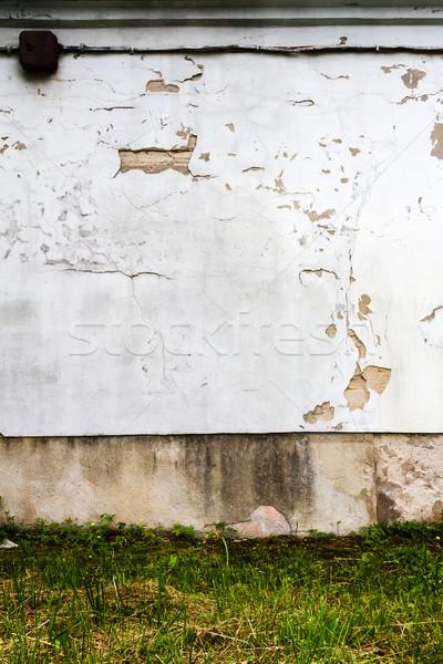 Witte gips muur groen gras gras graffiti Stockfoto © Taigi