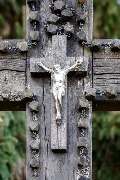 Shot krucyfiks krzyż drewna Zdjęcia stock © Taigi