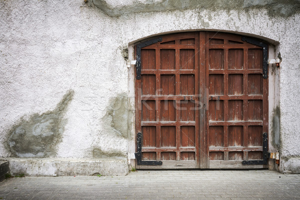 Foto stock: Edad · puerta · sucio · gris · pared