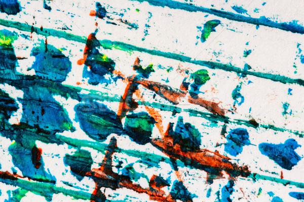 Stockfoto: Abstract · kunst · hand · geschilderd · Blauw · Rood