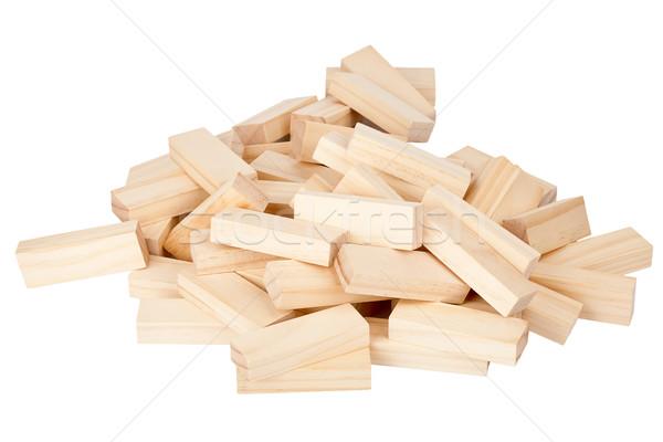Ahşap dikdörtgen biçiminde bloklar beyaz inşaat Stok fotoğraf © Taigi