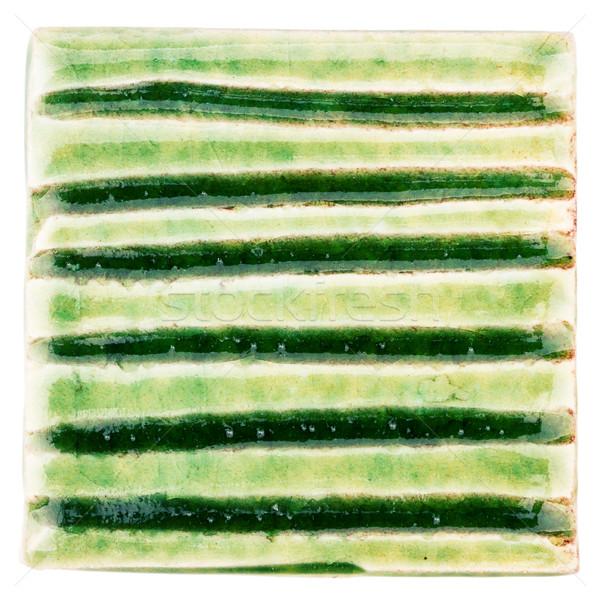 El yapımı seramik karo yeşil yalıtılmış beyaz Stok fotoğraf © Taigi