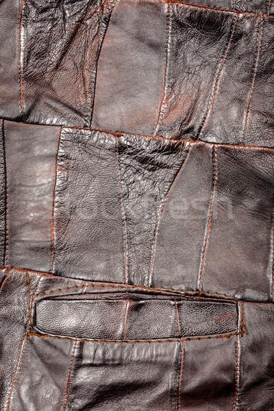 Bőr tákolmány szövet barna textúra absztrakt Stock fotó © Taigi
