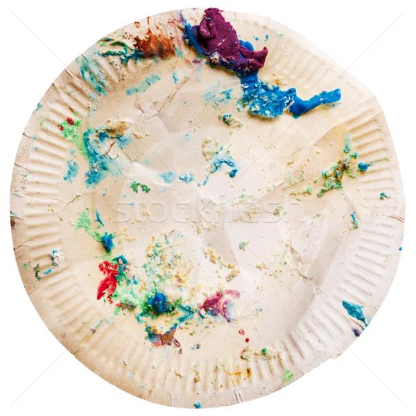 Sale jetable plaque papier gâteau Photo stock © Taigi