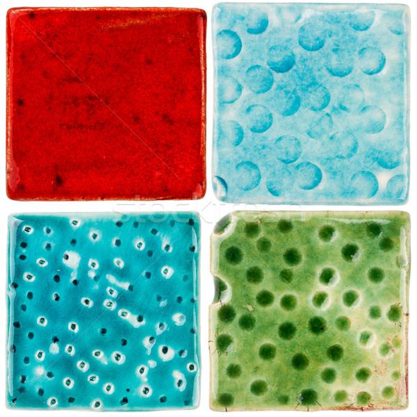 Handgemaakt keramische tegels geïsoleerd witte abstract Stockfoto © Taigi