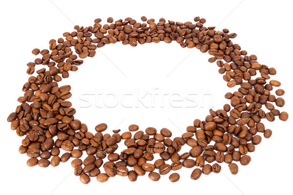 Stock photo: Circle of roasted coffee beans