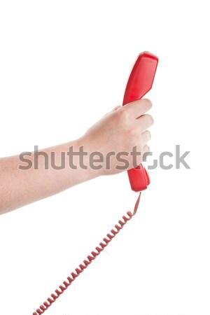Stock fotó: Piros · telefonkagyló · kéz · izolált · fehér · üzlet