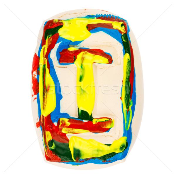 Colorido feito à mão branco argila letra i pintado Foto stock © Taigi