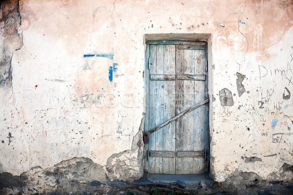 öreg ajtó kék elhagyatott ház épület Stock fotó © Taigi