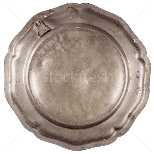 Inférieur vieux plaque isolé blanche alimentaire Photo stock © Taigi