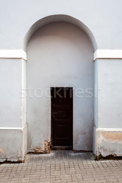 Foto stock: Porta · luz · azul · parede · marrom · velho · madeira