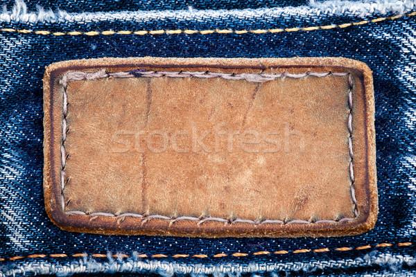 Bőr farmer címke farmernadrág háttér keret Stock fotó © Taigi