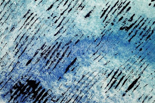 Stock fotó: Absztrakt · művészetek · kézzel · rajzolt · kék · vízfesték · víz