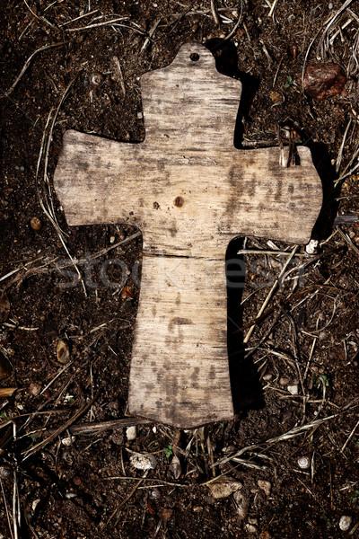 Stok fotoğraf: Eski · ahşap · çapraz · İsa · taş · din