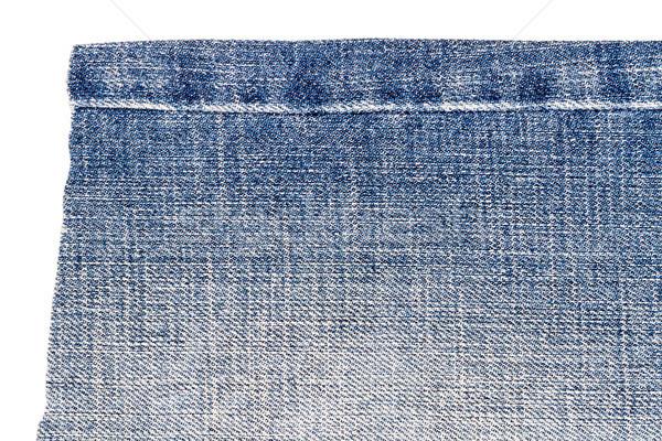 Pezzo azzurro jeans tessuto isolato bianco Foto d'archivio © Taigi