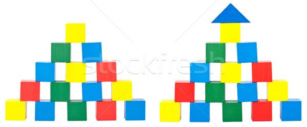 Houten speelgoed blokken witte huis hout bouw Stockfoto © Taigi