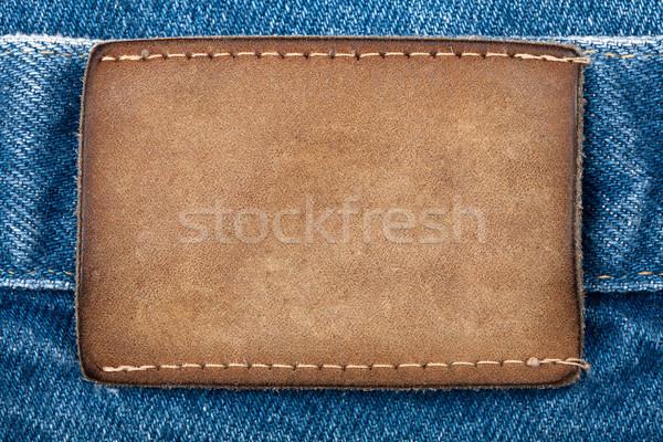 Stockfoto: Leder · jeans · label · mode · Blauw