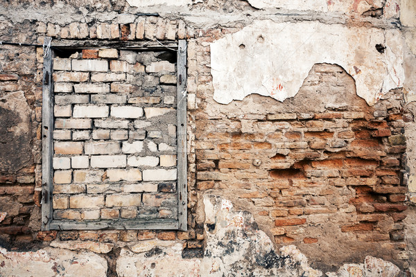 Old wall with boarded up window Stock photo © Taigi