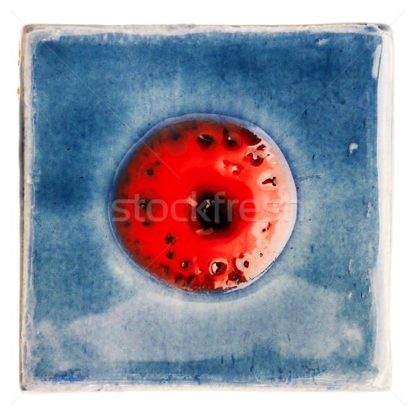 ручной работы керамической плитка синий красный точка Сток-фото © Taigi