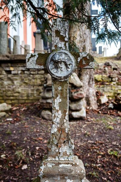 öreg keresztény kereszt beton temető Vilnius Stock fotó © Taigi